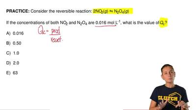 Consider the reversible reaction: 2NO2(g) ⇋ N2O4(g)  If the concentrations of ...
