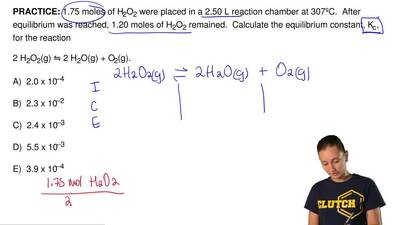 1.75 moles of H2O2 were placed in a 2.50 L reaction chamber at 307ºC.  After e...