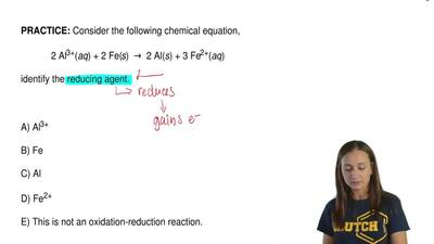Consider the following chemical equation,   2 Al3+(aq) + 2 Fe(s) →...