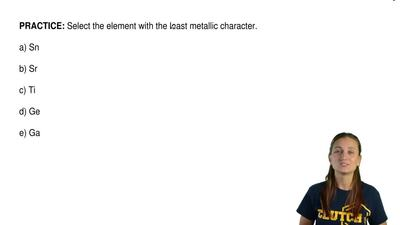 Select the element with the least metallic character.  a) Sn  b) Sr  c) Ti  d)...