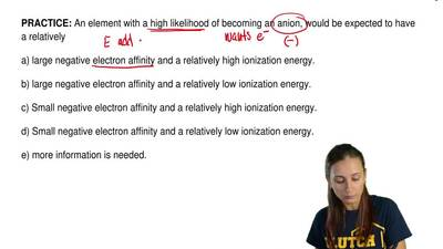 An element with a high likelihood of becoming an anion, would be expected to h...