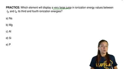 Which element will display a very large jump in ionization energy values betwe...