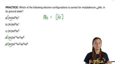 Which of the following electron configurations is correct for molybdenum, 42Mo...