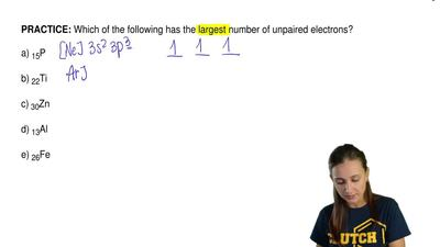Which of the following has the largest number of unpaired electrons?  a) 15P  ...