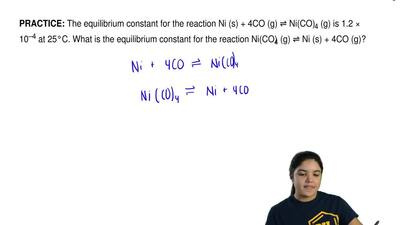 The equilibrium constant for the reaction Ni (s) + 4CO (g) ⇌ Ni(CO)4 (g) is 1...