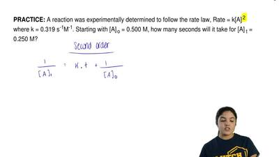 A reaction was experimentally determined to follow the rate law, Rate = k[A]  ...