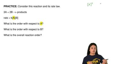 Consider this reaction and its rate law.  3A + 2B --> products  rate = k[A]...