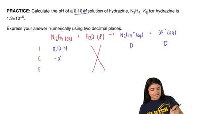 Calculate the pH of a 0.10 M solution of hydrazine, N2H4. Kb for hydrazine is ...