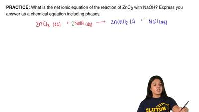 What is the net ionic equation of the reaction of ZnCl 2 with NaOH? Express yo...
