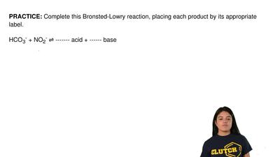 Complete this Bronsted-Lowry reaction, placing each product by its appropriate...