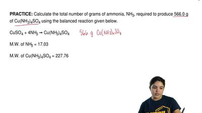 Calculate the total number of grams of ammonia, NH 3, required to produce 566....