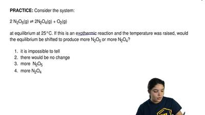 Consider the system:  2 N2O5(g) ⇌ 2N2O4(g) + O2(g)  at equilibrium at 25°C. If...