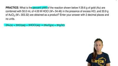 What is the percent yield of the reaction shown below if 29.6 g of gold (Au) a...