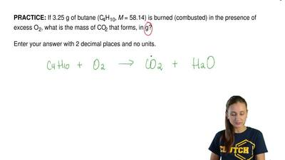 If 3.25 g of butane (C4H10, M = 58.14) is burned (combusted) in the presence o...
