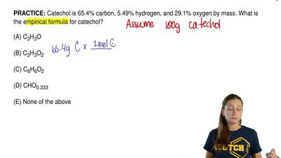 Catechol is 65.4% carbon, 5.49% hydrogen, and 29.1% oxygen by mass. What is th...