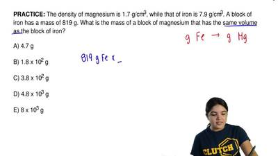 The density of magnesium is 1.7 g/cm3, while that of iron is 7.9 g/cm3. A bloc...