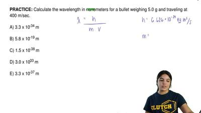 Calculate the wavelength in nanometers for a bullet weighing 5.0 g and traveli...