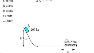 A 205 kg block is released at a 6.3 m height as shown. The track is frictionle...