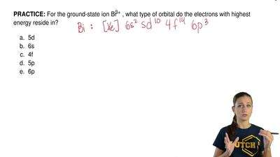 For the ground-state ion Bi3+ , what type of orbital do the electrons with hig...