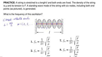 A string is stretched to a length ℓ and both ends are fixed. The density of th...