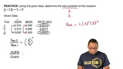 Using the given data, determine the rate constant of this reaction. A + 2 B → ...