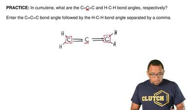 In cumulene, what are the C=C=C and H-C-H bond angles, respectively?  Enter th...