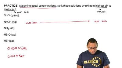 Assuming equal concentrations, rank these solutions by pH from highest pH to l...