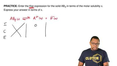 Enter the Ksp expression for the solid AB 2 in terms of the molar solubility x...
