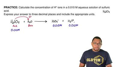 Calculate the concentration of H+ ions in a 0.010 M aqueous solution of sulfur...