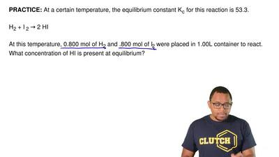 At a certain temperature, the equilibrium constant K c for this reaction is 53...