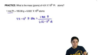 What is the mass (grams) of 4.91 x 1021 Pt    atoms?     1 mol Pt = 195.08 g =...