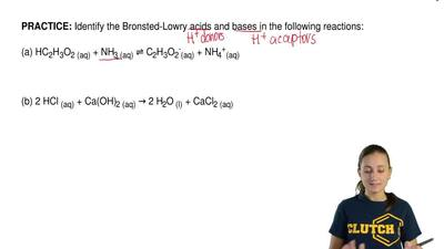 Identify the Bronsted-Lowry acids and bases in the following reactions:  (a) H...