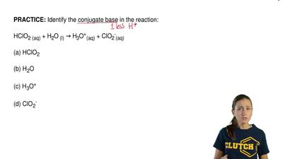 Identify the conjugate base in the reaction:  HClO2 (aq) + H2O (l) → H3O+(aq) ...