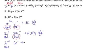 Determine if each salt will form a solution that is acidic, basic, or pH neutr...