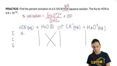 Find the percent ionization of a 0.125 M HCN aqueous solution. The Ka for HCN ...