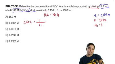 Determine the concentration of NO3− ions in a solution prepared by diluting 25...