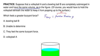 Suppose that a volleyball A and a bowling ball B are completely submerged in w...