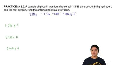 A 3.927 sample of glycerin was found to contain 1.536 g carbon, 0.345 g hydrog...