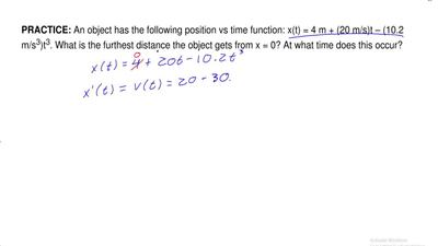 An object has the following position vs time function: x(t) = 4 m + (20 m/s)t ...