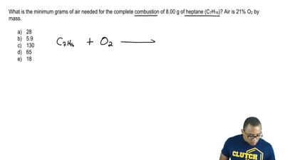 What is the minimum grams of air needed for the complete combustion of 8.00 g ...