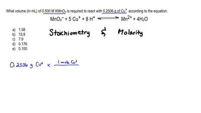 What volume (in mL) of 0.500 M KMnO 4 is required to react with 0.2506 g of Cu...