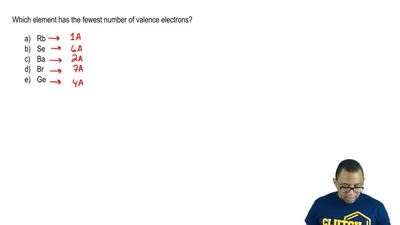 Which element has the fewest number of valence electrons?  a) Rb  b) Se  c) Ba...