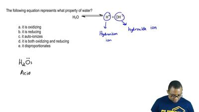 The following equation represents what property of water?  H2O ⇌ H + + OH –   ...