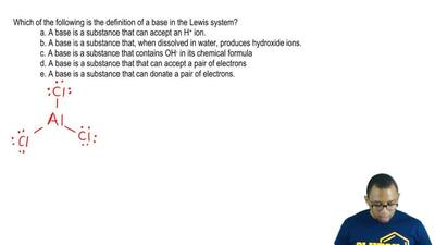 Which of the following is the definition of a base in the Lewis system?  a. A ...