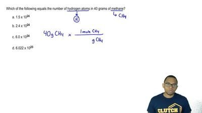 Which of the following equals the number of hydrogen atoms in 40 grams of meth...