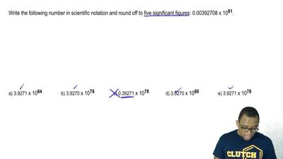 Write the following number in scientific notation and round off to five signif...