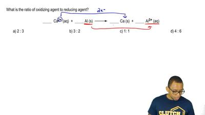 What is the ratio of oxidizing agent to reducing agent?  _______ Ca2+(aq) + _...