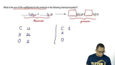 What is the sum of the coefficients for the products in the following chemical...