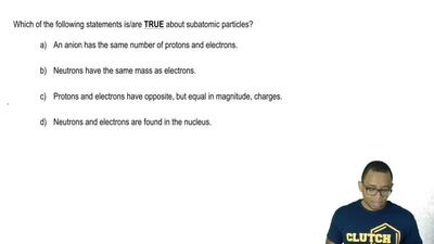 Which of the following statements is/are TRUE about subatomic particles?  a) A...