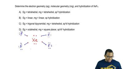 Determine the electron geometry (eg), molecular geometry (mg), and hybridizati...